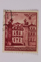 2005.375.29 front Postage stamp, 1 zloty, featuring Bruhlsche Palace, Warsaw, issued in German occupied Poland  Click to enlarge