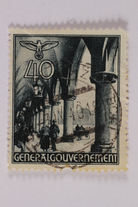 2005.375.30 front Postage stamp, 40 zloty, featuring the Cloth Hall, Krakow, issued in German occupied Poland