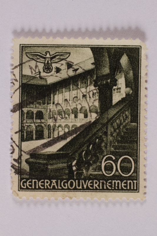 2005.375.31 front Postage stamp, 60 zloty, featuring Castle Court, Krakow, issued in German occupied Poland