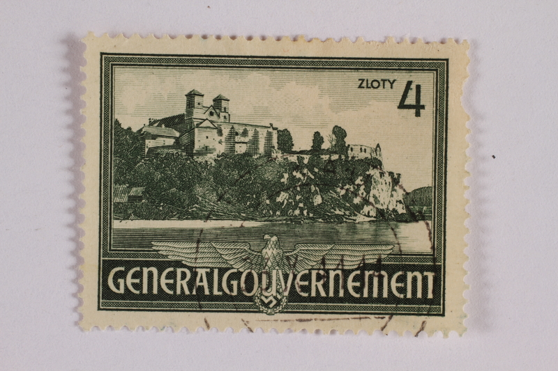 2005.375.32 front Postage stamp, 4 zloty, featuring Tyniec Monastery, issued in German occupied Poland