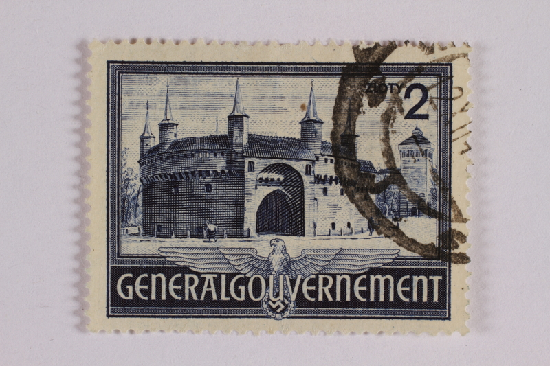 2005.375.33 front Postage stamp, 2 zloty, featuring the Barbican, Krakow, issued in German occupied Poland