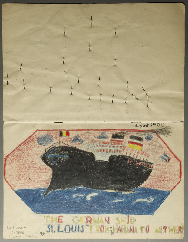 1991.164.117 back Three drawings created by an 11 year old girl about her trip on the ill-fated voyage of the MS St. Louis