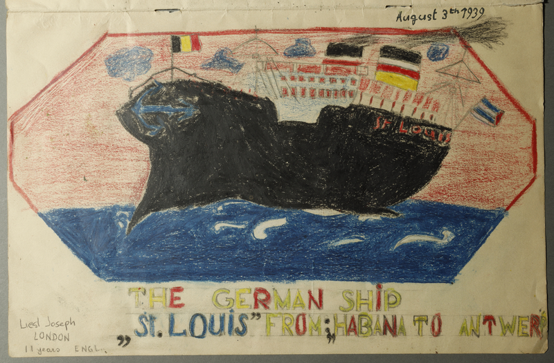 1991.164.117 other 3 Three drawings created by an 11 year old girl about her trip on the ill-fated voyage of the MS St. Louis