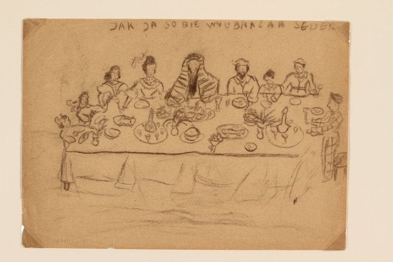 2009.204.19 front Pencil drawing of people seated for Seder created by a former hidden child