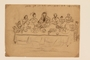 Pencil drawing of people seated for Seder created by a former hidden child