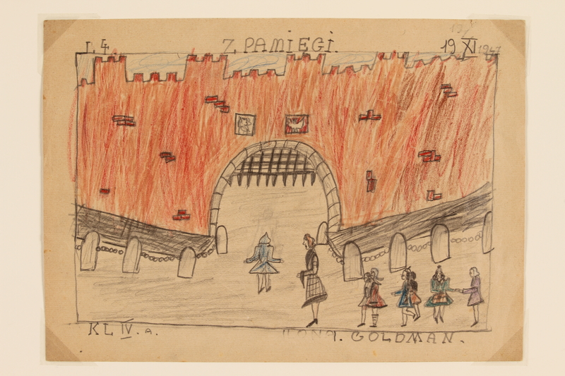 2009.204.20 front Color drawing of girls visiting a medieval castle created by a former hidden child