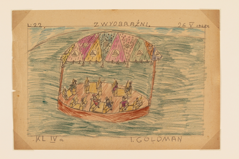 2009.204.21 front Color drawing of children seated within a gazebo created by a former hidden child