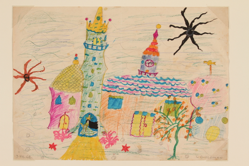 2009.204.22 front Watercolor of a black haired princess in a castle doorway created by a former hidden child