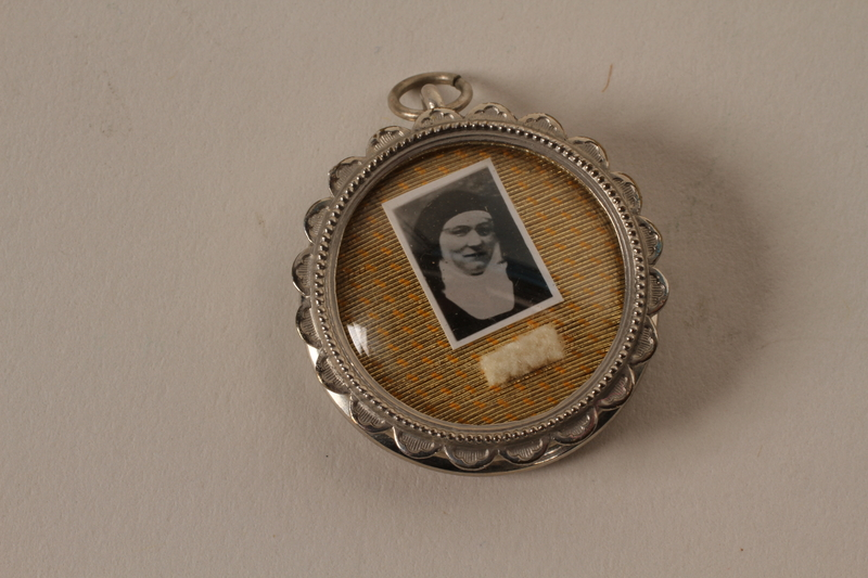 2001.62.6_a closed Religious medallion with an image of Dr. Edith Stein