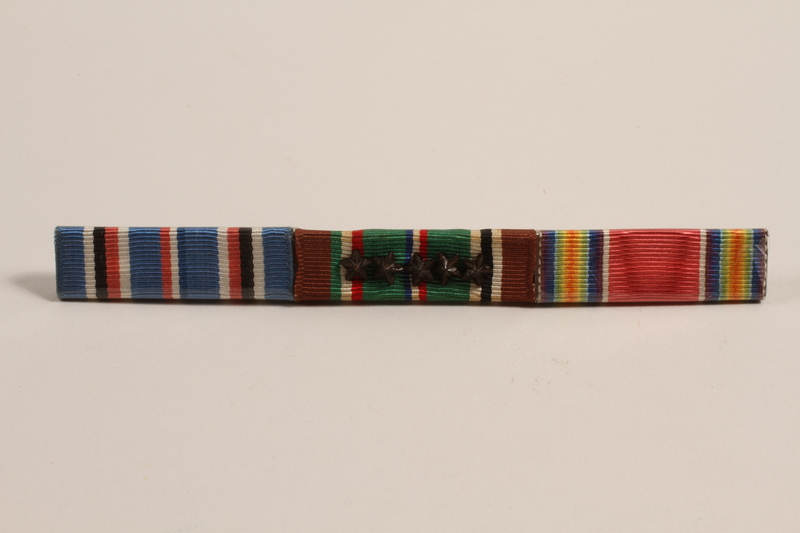 2003.149.9 front Ribbon bar with 3 campaign ribbons issued to a Jewish German US soldier