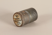 2003.149.49_a-b closed Agfa metal film canister used by German Jewish US soldier  Click to enlarge