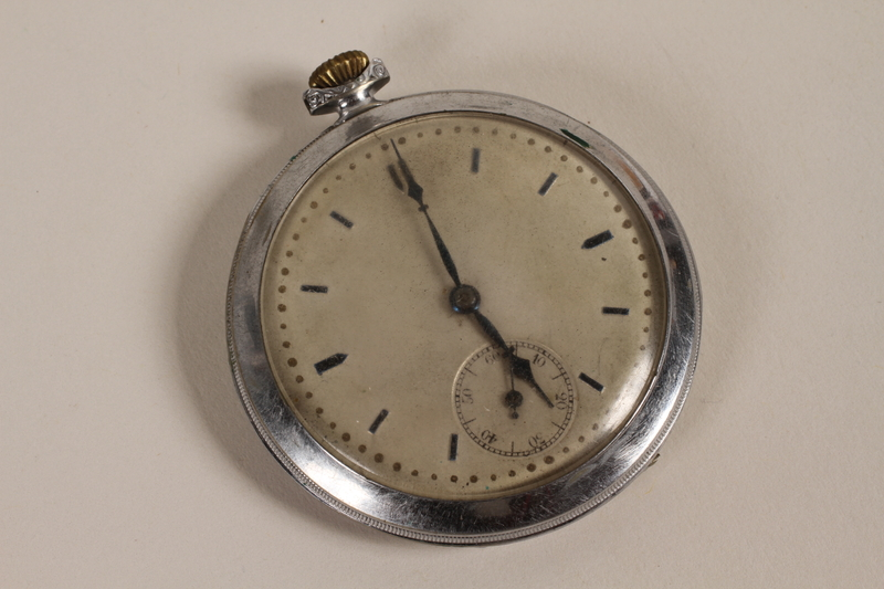 2003.149.61 front Art Deco silver pocket watch owned by German Jewish US emigre and soldier