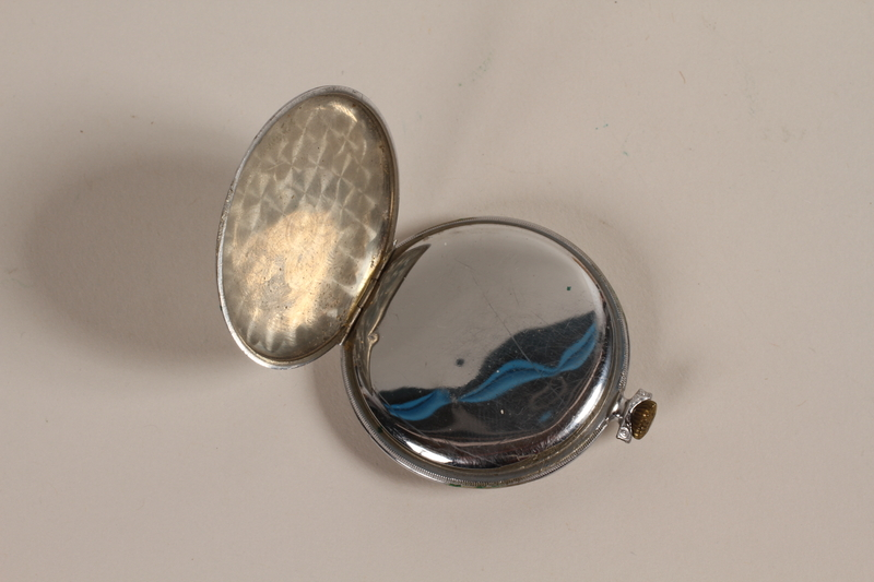 2003.149.61 back open Art Deco silver pocket watch owned by German Jewish US emigre and soldier