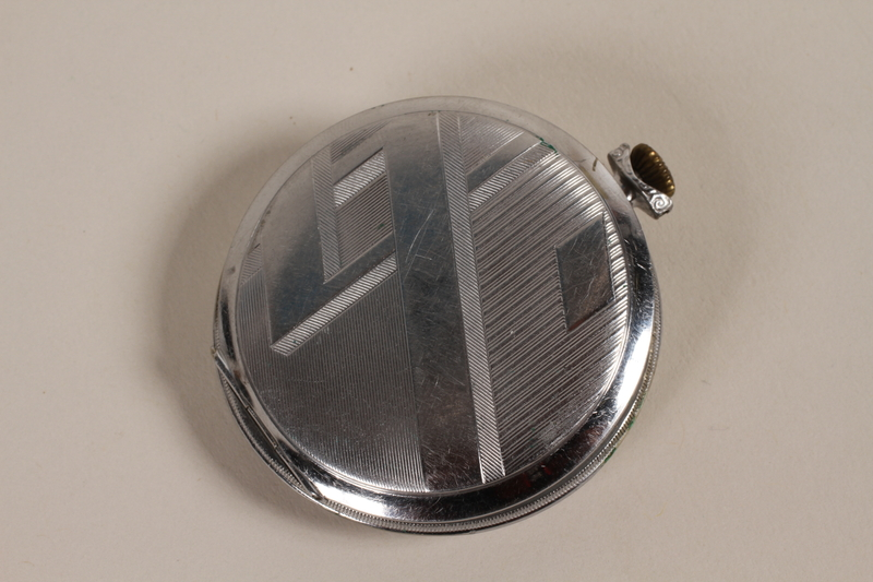 2003.149.61 back Art Deco silver pocket watch owned by German Jewish US emigre and soldier