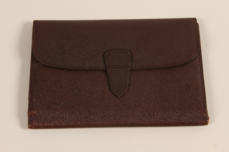2003.149.62 front Brown leather document wallet used by German Jewish US soldier