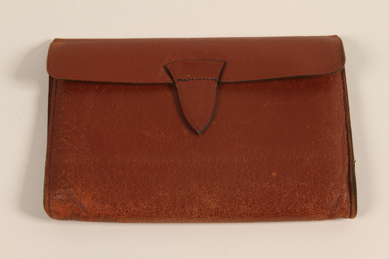 2003.149.64 front Red-brown leather document wallet used by a German Jewish refugee