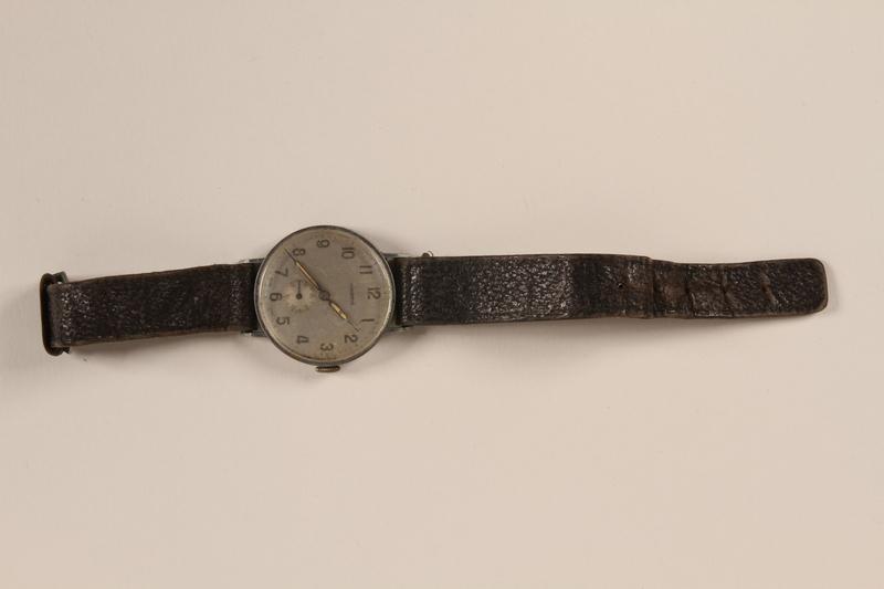 2003.149.65 front Novoris leather wrist watch worn by German Jewish emigre and US soldier
