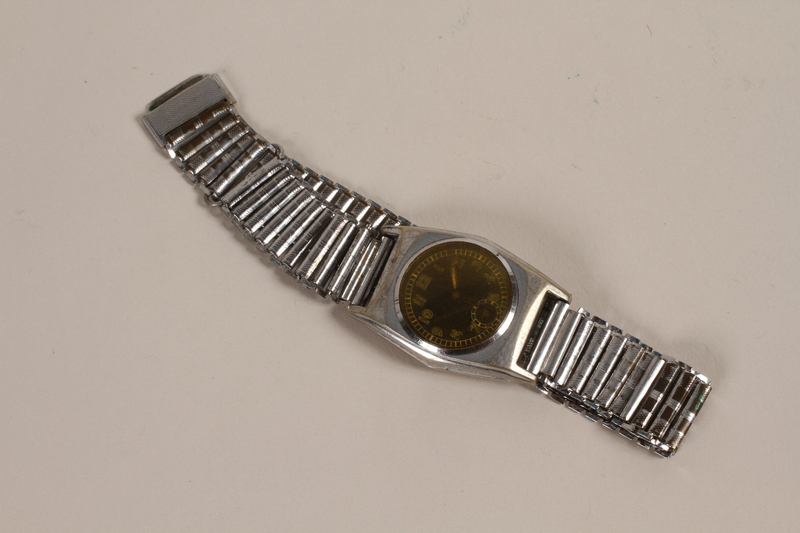 2003.149.66 front Stainless steel wrist watch owned by German Jewish emigre and US soldier