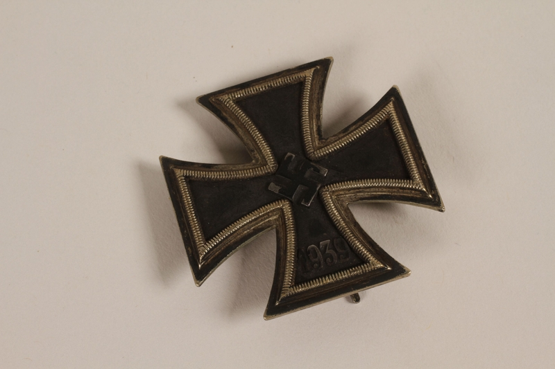 2003.149.77 front Iron Cross, 1st class, medal from WWII acquired by a Jewish German emigre and US soldier