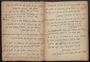 Notebook from American Joint Distribution Committee in Italy, containing handwritten text of Sholem Aleichem play