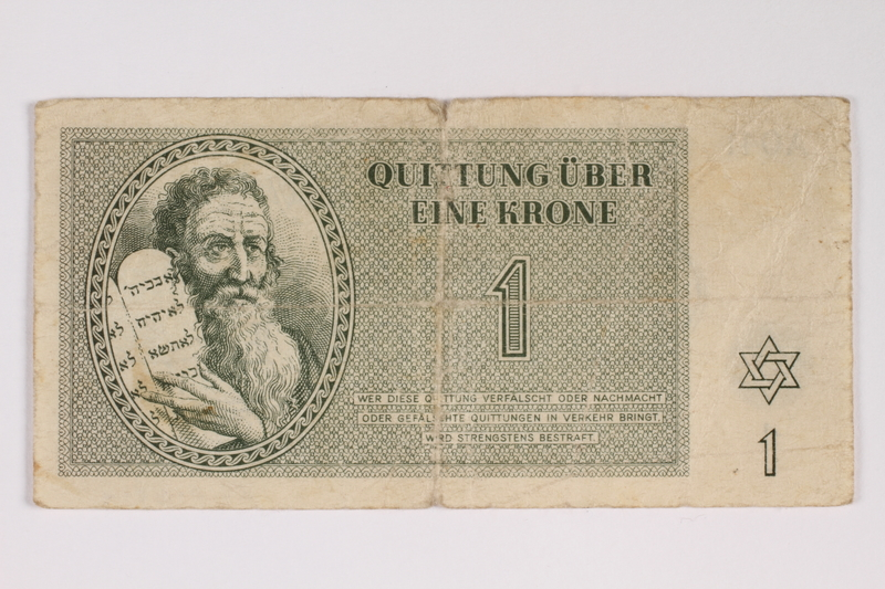 2012.68.2 front Theresienstadt ghetto-labor camp scrip, 1 krone note