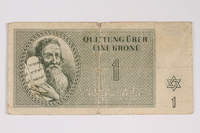 2012.68.2 front Theresienstadt ghetto-labor camp scrip, 1 krone note  Click to enlarge