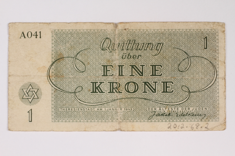2012.68.2 back Theresienstadt ghetto-labor camp scrip, 1 krone note
