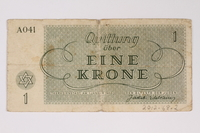 2012.68.2 back Theresienstadt ghetto-labor camp scrip, 1 krone note  Click to enlarge