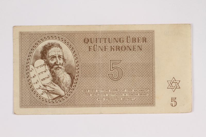 2012.68.3 front Theresienstadt ghetto-labor camp scrip, 5 kronen note