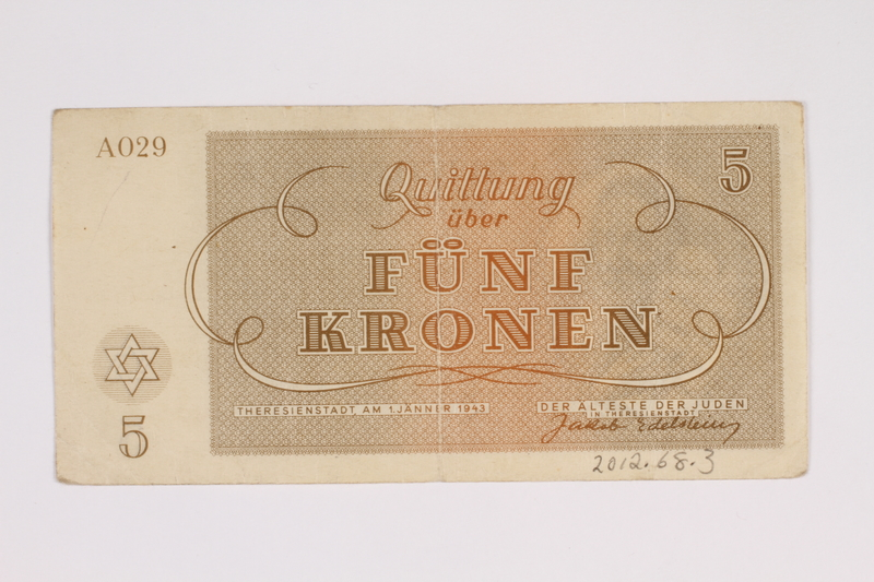 2012.68.3 back Theresienstadt ghetto-labor camp scrip, 5 kronen note