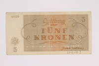 2012.68.3 back Theresienstadt ghetto-labor camp scrip, 5 kronen note  Click to enlarge