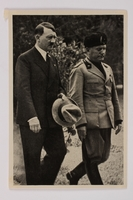 2012.68.5 front Cigarette card with image of Hitler walking with Mussolini  Click to enlarge