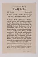 2012.68.10 back Cigarette card photo of Hitler addressing a large crowd  Click to enlarge