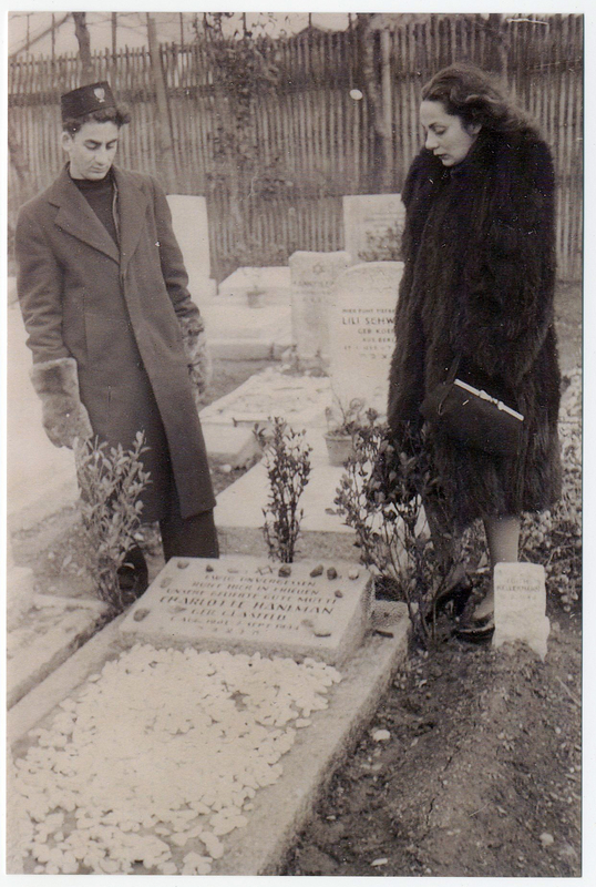 Ruth and Harry Haneman at the grave of their mother, Charlotte Glasfeld Haneman.  She died in September 1944 in Shanghai. Ruth was 20 years old and Harry was 16 years old. Eckstein and Haneman family papers