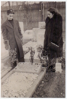 Ruth and Harry Haneman at the grave of their mother, Charlotte Glasfeld Haneman.  She died in September 1944 in Shanghai. Ruth was 20 years old and Harry was 16 years old. Eckstein and Haneman family papers  Click to enlarge