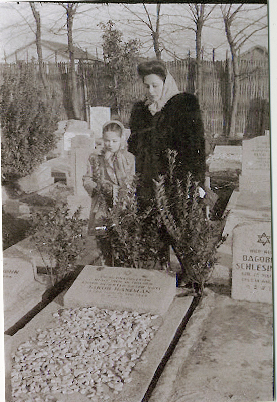 Ruth and Lillian Haneman at the grave of their mother, Charlotte Glasfeld Haneman.  She died in September 1944 in Shanghai. Ruth was 20 years old and Lilli was just 6 years old. Eckstein and Haneman family papers