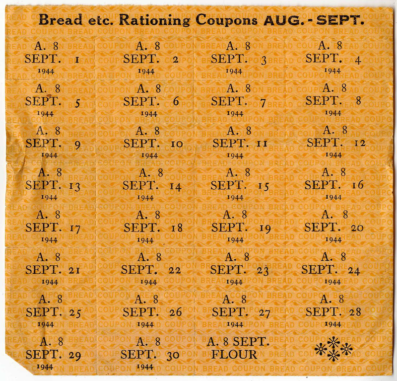 Bread ration coupons for August - September 1944; Shanghai, China. Eckstein and Haneman family papers