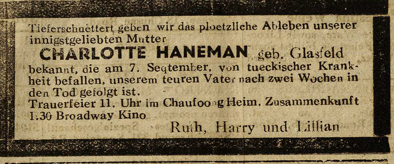 Announcement in The Shanghai Jewish Chronicle on September 10, 1944, of death of Charlotte Hanemen, who died on September 7, 1944 after caring for her husband. Signed by Ruth, harry and Lillian Haneman Eckstein and Haneman family papers