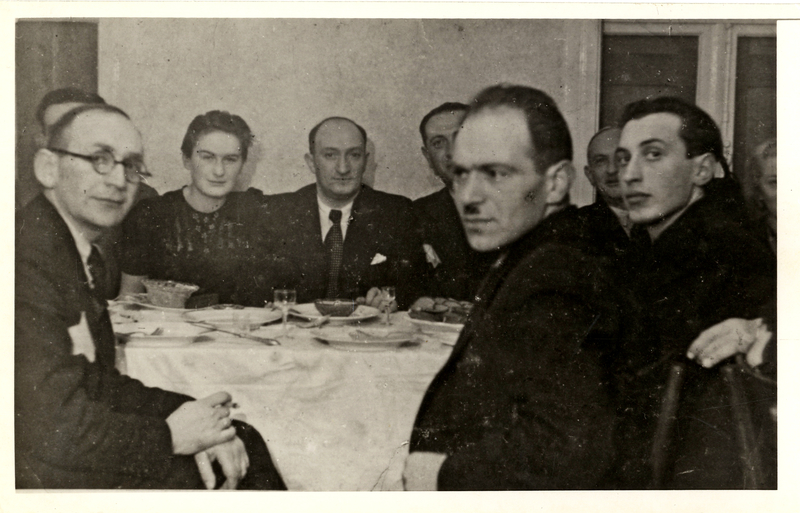 The management of the Transportation Department in the Lodz Ghetto.  The man on the left wearing the Star of David is Yehuda Shapiro, Lodka's husband. Shmuel and Miriam Kaufman Collection