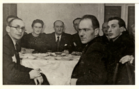 The management of the Transportation Department in the Lodz Ghetto.  The man on the left wearing the Star of David is Yehuda Shapiro, Lodka's husband. Shmuel and Miriam Kaufman Collection  Click to enlarge