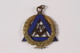 Gold and blue enamel Masonic medal with the compass and square emblem owned by a Jewish Hungarian emigre