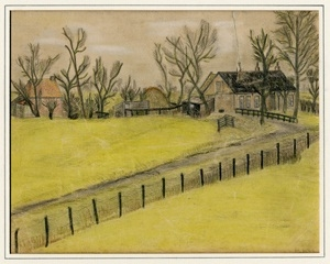 Kitty Piller de Wolff Collection Drawing of a yellow field done in hiding by a Dutch Jewish man