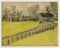 Kitty Piller de Wolff Collection Drawing of a yellow field done in hiding by a Dutch Jewish man  Click to enlarge