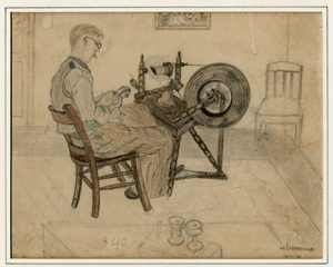 Kitty Piller de Wolff Collection Drawing of a man at a spinning wheel done in hiding by a Dutch Jewish man