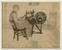 Drawing of a man at a spinning wheel done in hiding by a Dutch Jewish man