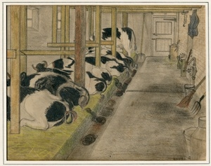Kitty Piller de Wolff Collection Drawing of black and white cows in a barn done in hiding by a Dutch Jewish man