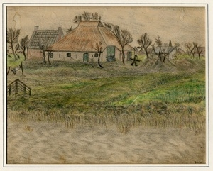 Kitty Piller de Wolff Collection Drawing of farmhouse and trees done in hiding by a Dutch Jewish man