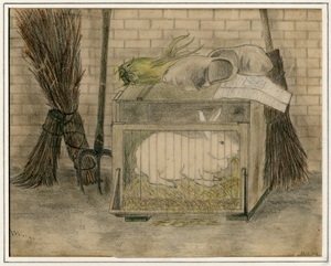 Kitty Piller de Wolff Collection Drawing of a large white rabbit done by a Dutch Jewish man in hiding
