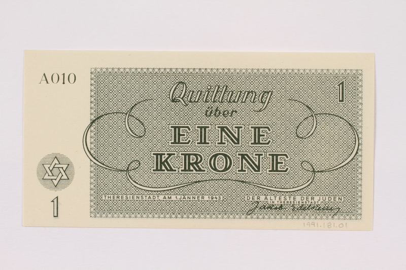 1991.181.1 back Theresienstadt ghetto-labor camp scrip, 1 krone note
