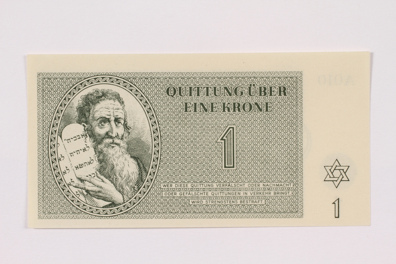 1991.181.1 front Theresienstadt ghetto-labor camp scrip, 1 krone note
